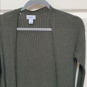 Ribbed Lightweight Green Long Cardigan